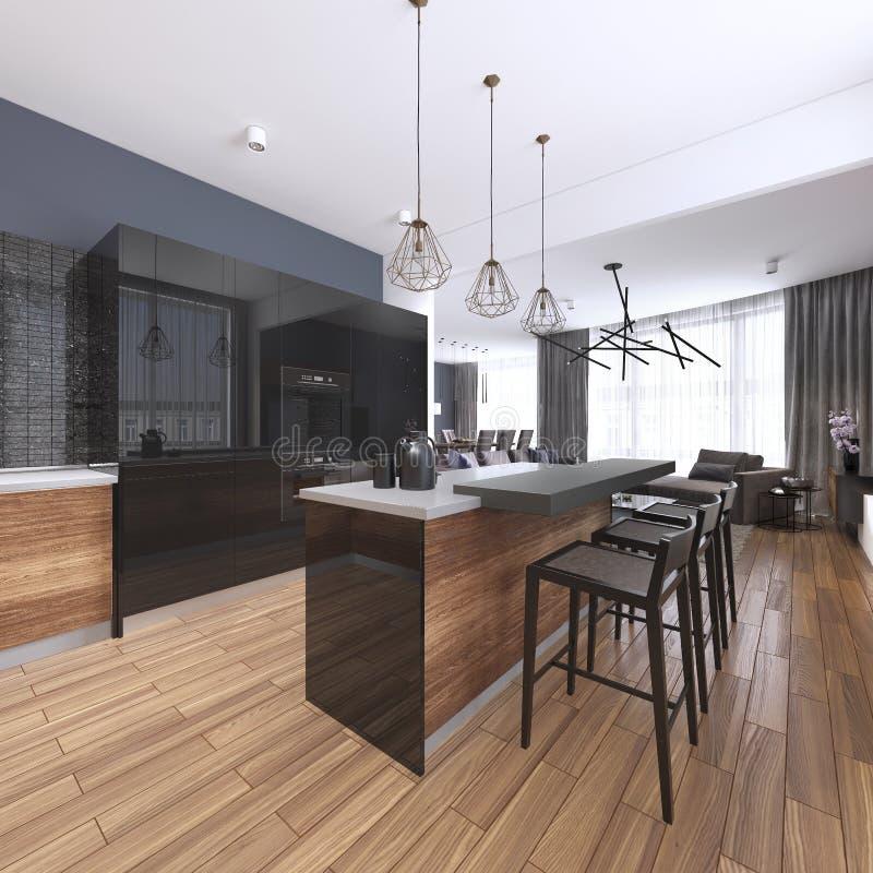 Cocina hermosa interior casera de lujo con los gabinetes negros y de madera de encargo de la coctelera, isla rematada de mármol s ilustración del vector