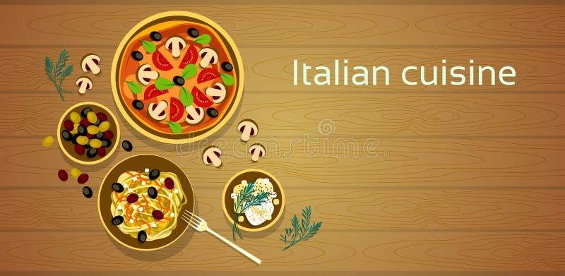 Cocina italiana, fondo de madera determinado de la textura de la comida de las pastas tradicionales de la pizza ilustración del vector