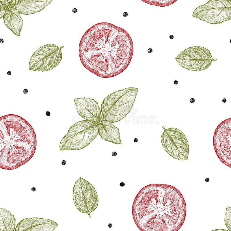 Cocina italiana Ingrediente, albahaca, tomate y pimienta p inconsútil libre illustration