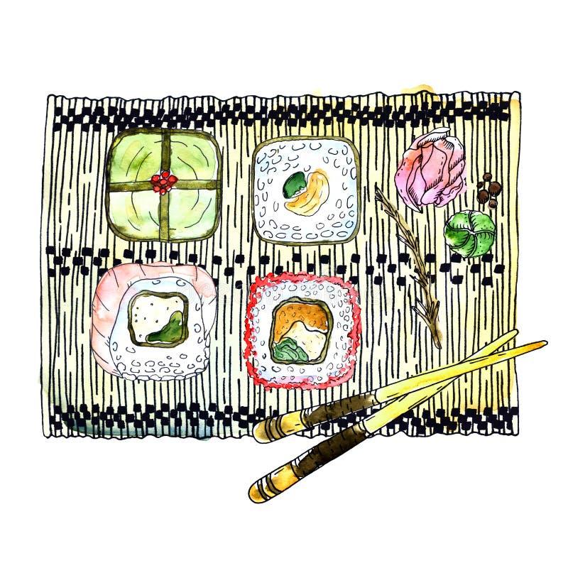 Cocina japonesa - cuatro tipos de rollos de sushi, de jengibre, de wasabi y de palillos en una servilleta de bambú stock de ilustración