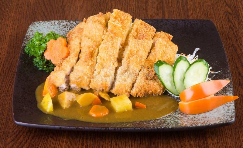 Cocina japonesa curry del pollo frito en el fondo fotos de archivo libres de regalías