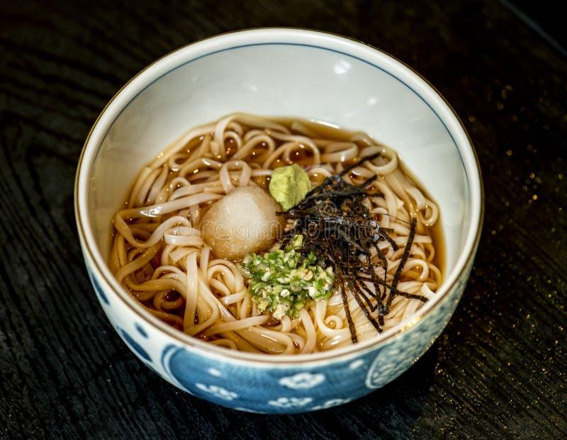 Cocina japonesa de la comida de los tallarines de Soba imagen de archivo