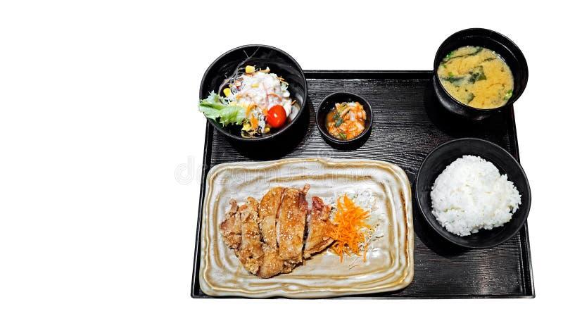 Cocina japonesa Fried Chicken determinado, arroz, ensalada, y sopa de Miso, fotografía de archivo libre de regalías