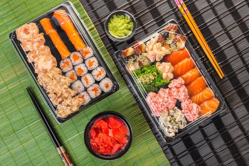 Cocina japonesa, primer determinado del sushi foto de archivo libre de regalías