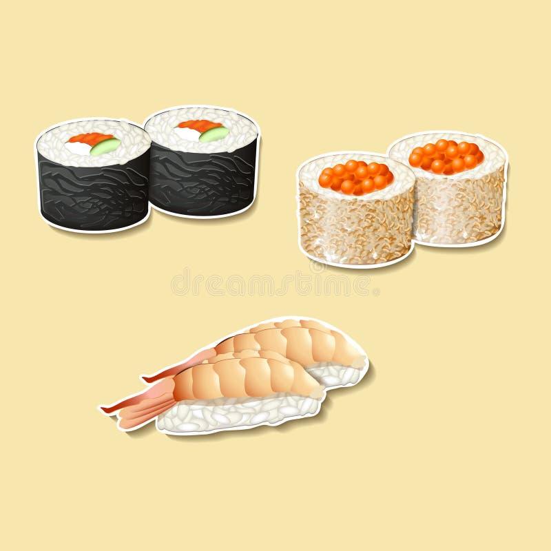 Download Cocina Japonesa, Sushi Con Los Pescados, Huevas Ilustración del Vector - Ilustración de rodillo, artes: 41902734