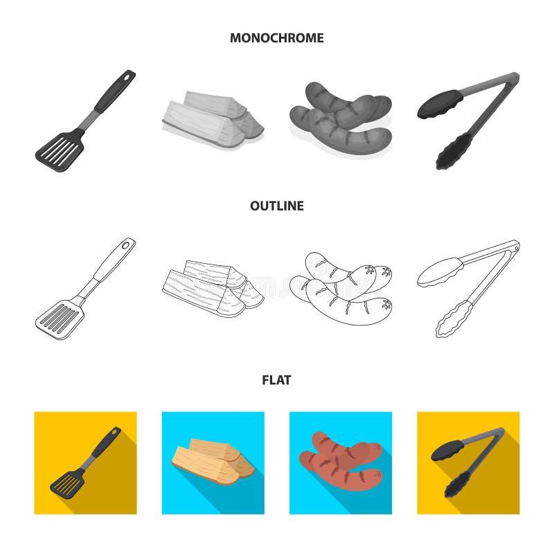 Cocina, leña, salchichas y otra de la cuchilla para la barbacoa Iconos determinados de la colección del Bbq en el plano, esquema, stock de ilustración