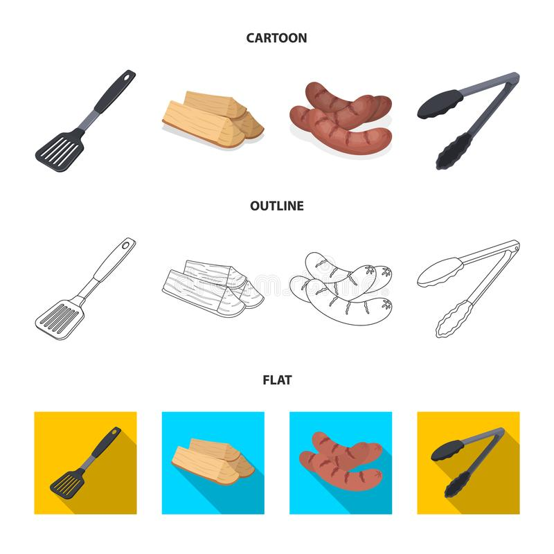 Cocina, leña, salchichas y otra de la cuchilla para la barbacoa Iconos determinados de la colección del Bbq en la historieta, esq libre illustration