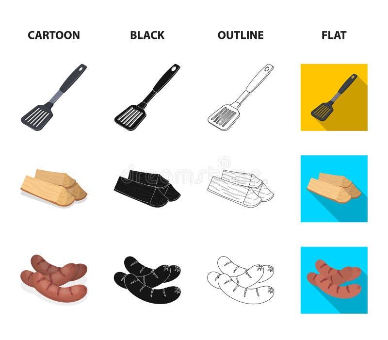 Cocina, leña, salchichas y otra de la cuchilla para la barbacoa Iconos determinados de la colección del Bbq en la historieta, neg libre illustration