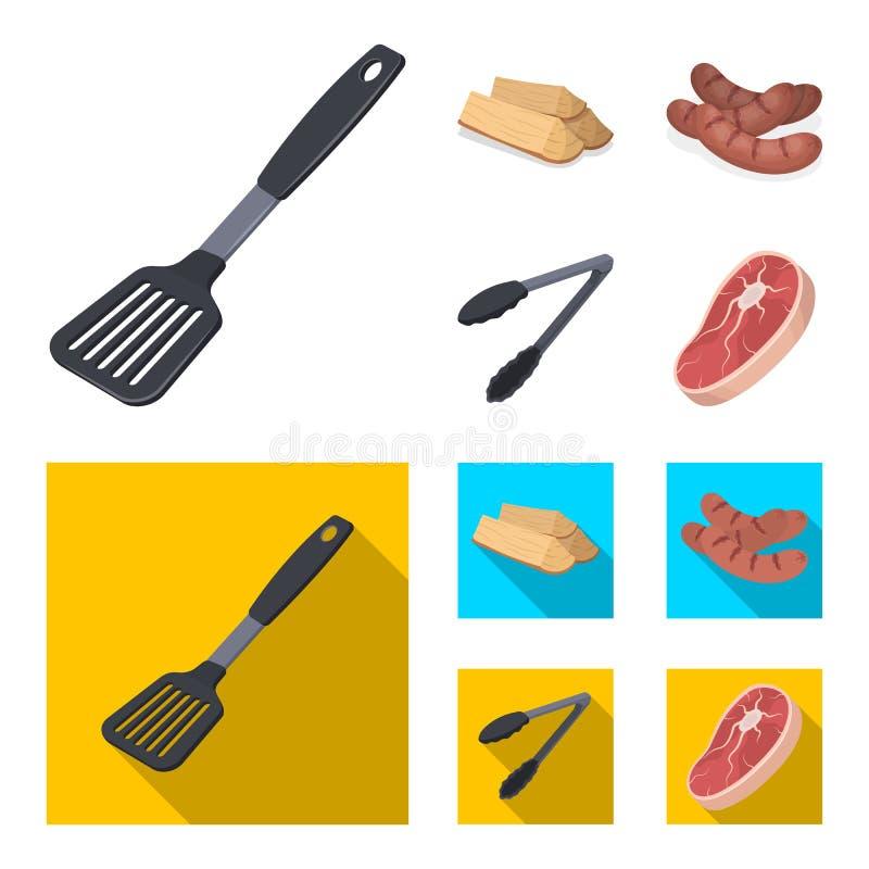 Cocina, leña, salchichas y otra de la cuchilla para la barbacoa Iconos determinados de la colección del Bbq en la historieta, sím stock de ilustración