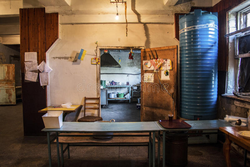 Cocina militar en Avdiivka imagen de archivo libre de regalías