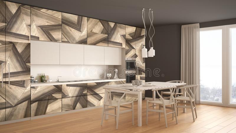 Cocina minimalistic moderna blanca y gris, con las colocaciones de madera clásicas, mesa de comedor panorámica, diseño interior m foto de archivo libre de regalías