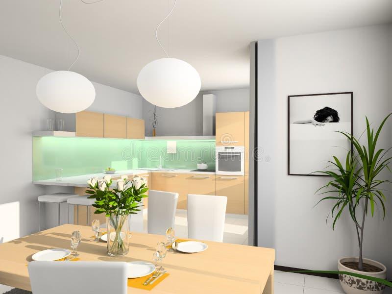 Cocina moderna. 3D rinden fotos de archivo