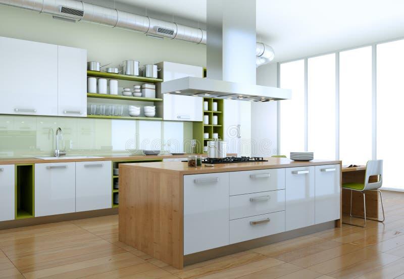 Cocina moderna blanca con diseño interior de los elementos verdes ilustración del vector