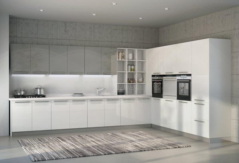 Cocina moderna brillante blanca en un interior ilustración del vector