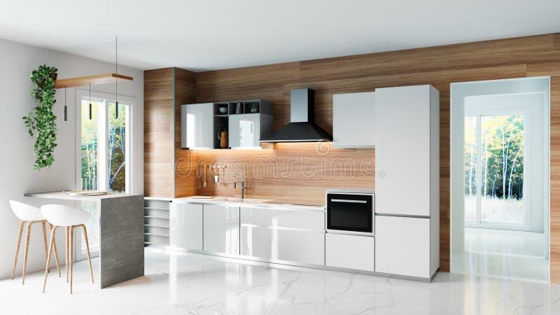 Cocina moderna con la pared de madera y el piso de mármol blanco, idea minimalistic del concepto de diseño interior, ejemplo 3D libre illustration