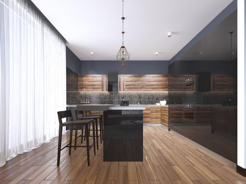 Cocina moderna con los armarios de cocina de madera y del negro brillante, isla de cocina con los taburetes de bar, encimeras de  stock de ilustración