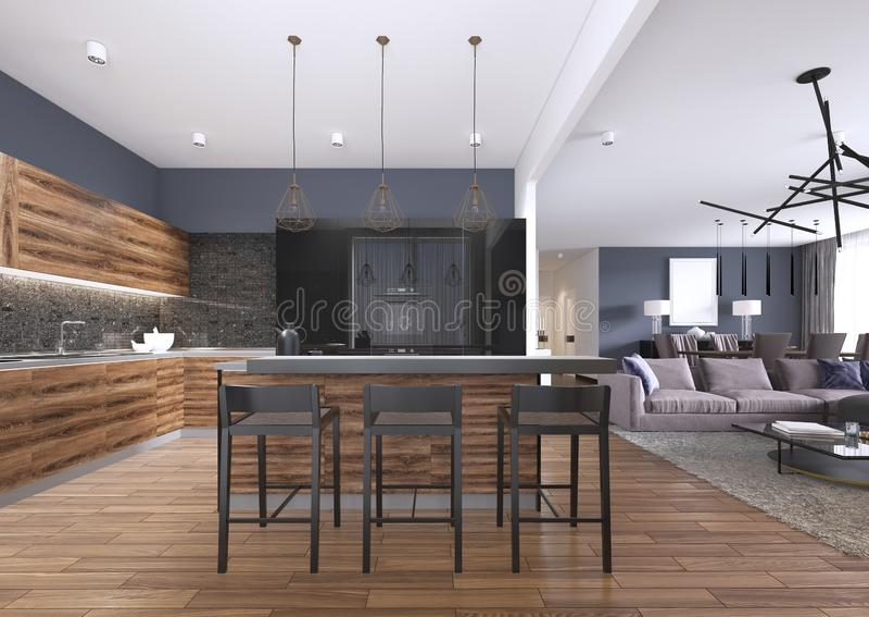 Cocina moderna con los armarios de cocina de madera y del negro brillante, isla de cocina con los taburetes de bar, encimeras de  ilustración del vector