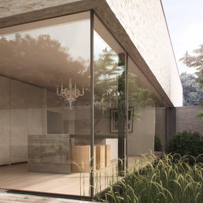 Cocina moderna en casa minimalista ilustración del vector