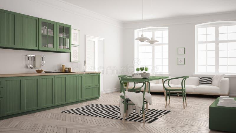 Cocina moderna minimalista con la mesa de comedor y la sala de estar, whi stock de ilustración