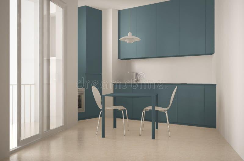 Cocina moderna minimalista con la ventana y la mesa de comedor grandes con diseño interior de las sillas, blanca y azul de la arq imágenes de archivo libres de regalías