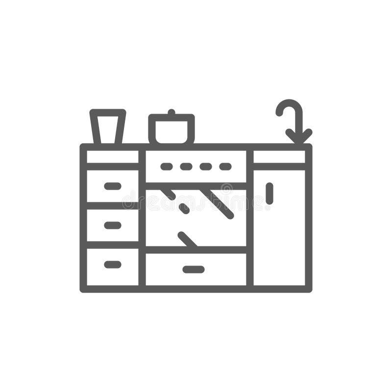 Cocina, muebles para la l?nea icono de la cocina stock de ilustración