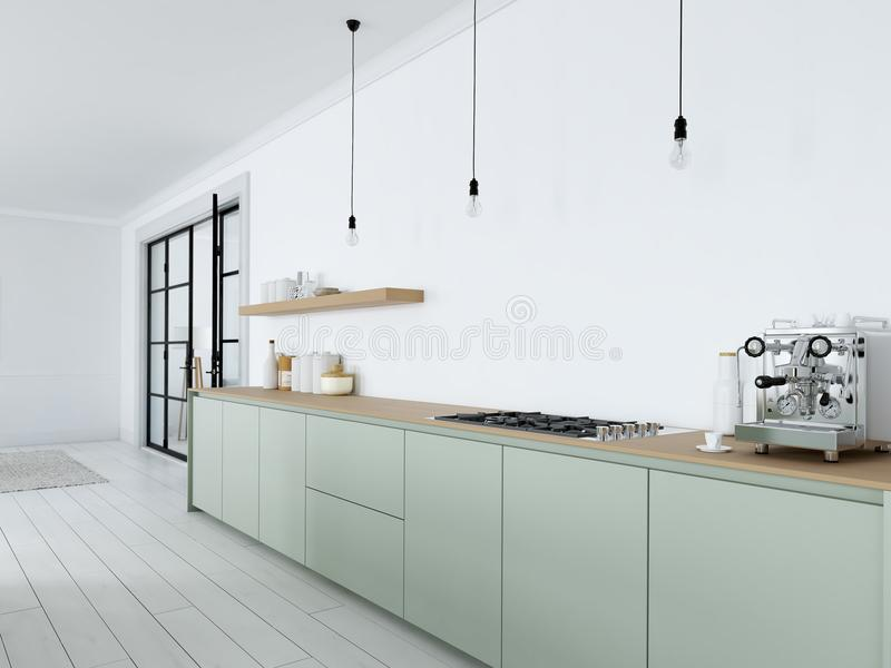 Cocina nórdica moderna en el apartamento del desván representación 3d ilustración del vector