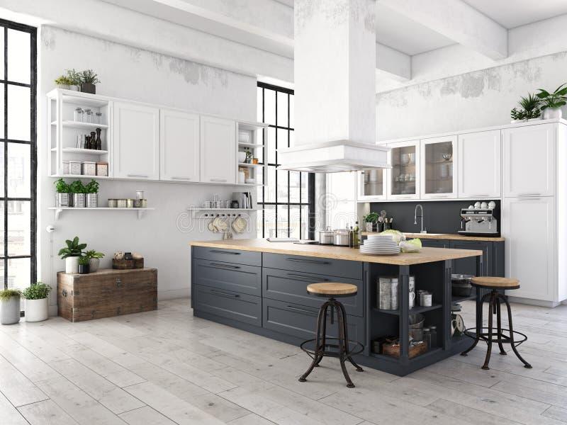 Cocina nórdica moderna en el apartamento del desván representación 3d foto de archivo