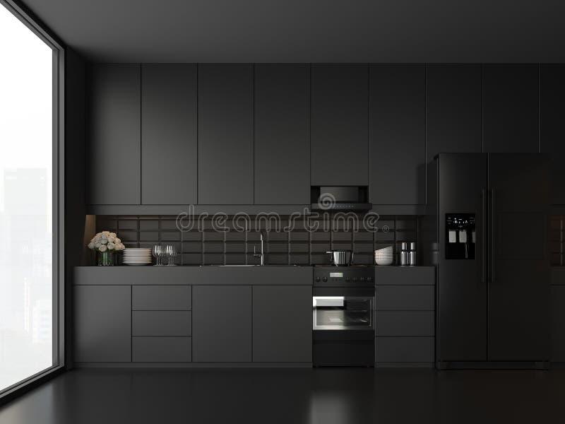 Cocina negra 3d del estilo mínimo rendir stock de ilustración