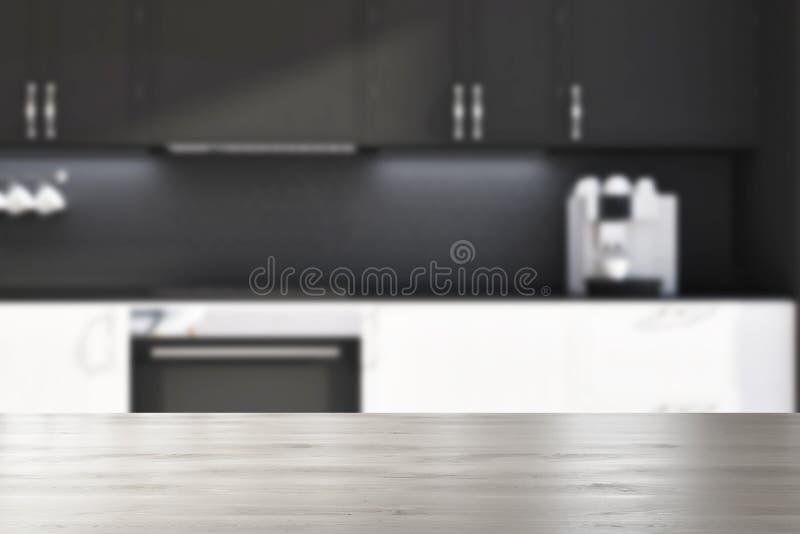 Cocina Negra De La Pared, Falta De Definición Blanca De Las ...
