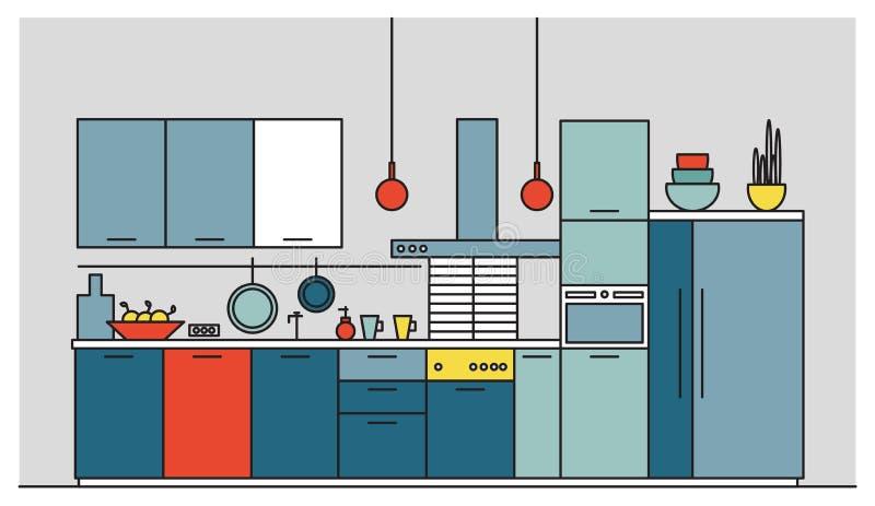 Cocina por completo de los muebles modernos, aparatos electrodomésticos, cookware, cocinando instalaciones, el equipo y las decor ilustración del vector