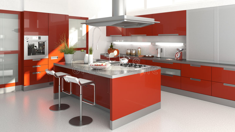 Cocina roja stock de ilustración
