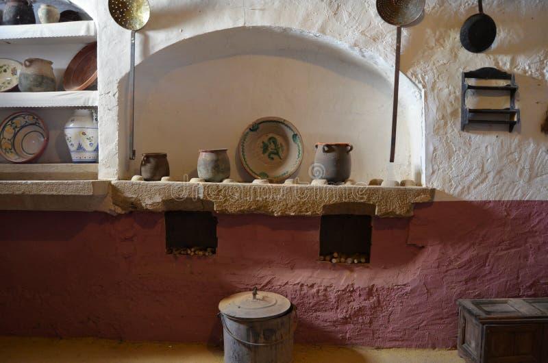 Cocina romana. Roman kitchen. Cocina romana en el Castillo de Vicfred. Roman kitchen in the Castle of Vicfred royalty free stock images