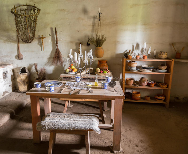 Cocina tradicional en la misión en California foto de archivo libre de regalías