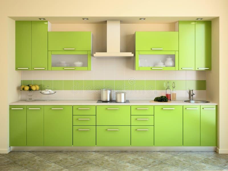 Cocina verde moderna. ilustración del vector