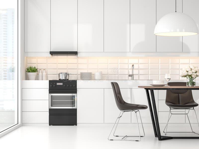 Cocina y comedor blancos modernos 3d rendir stock de ilustración