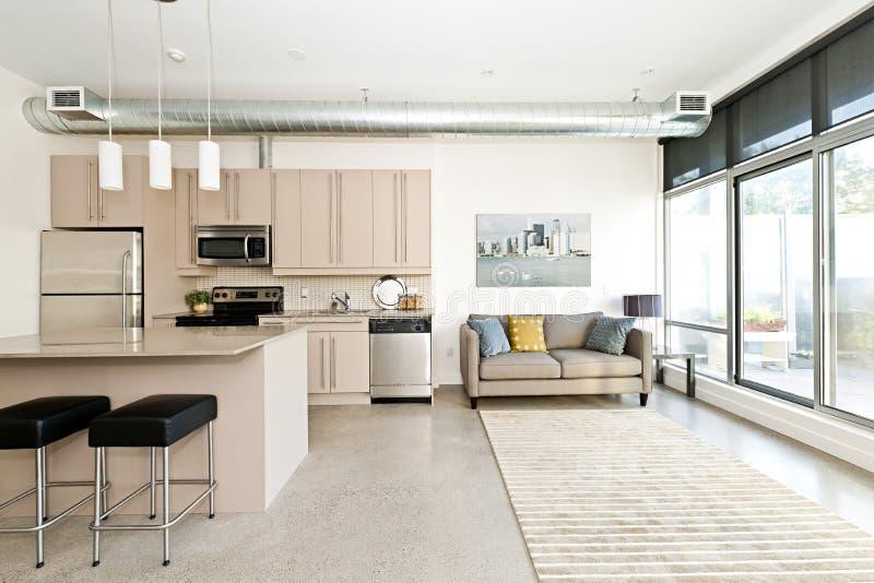 Cocina y sala de estar modernas de la propiedad horizontal foto de archivo