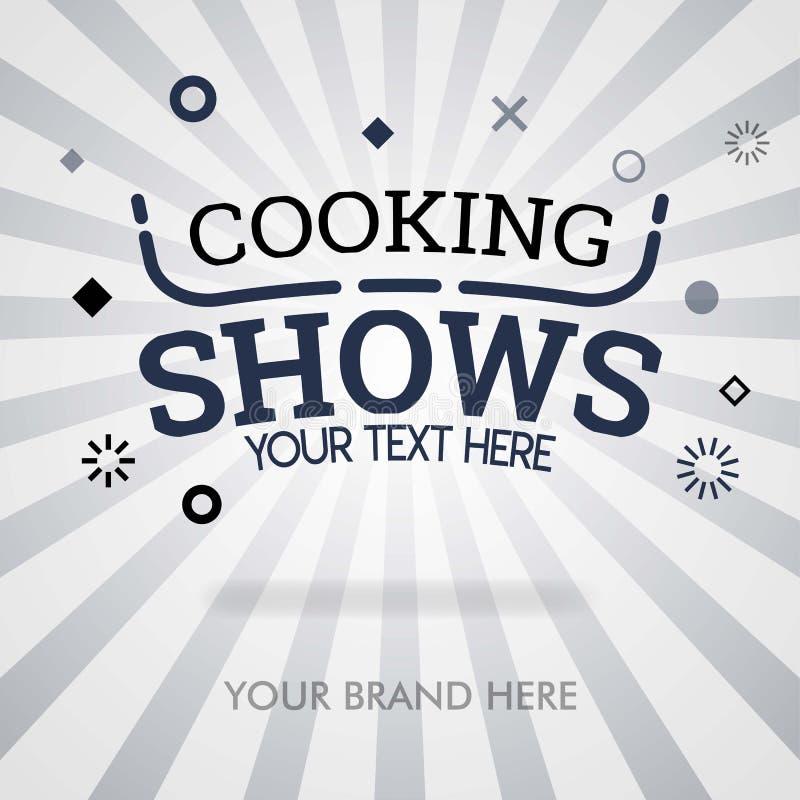 Cocinando las demostraciones cubren la página demostraciones de cocinar americanas demostraciones sobre la comida y el plato trad ilustración del vector