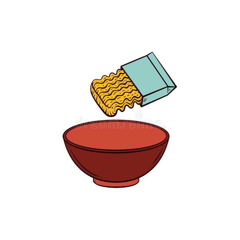 Cocinando las pastas - los tallarines inmediatos y vacian el cuenco libre illustration