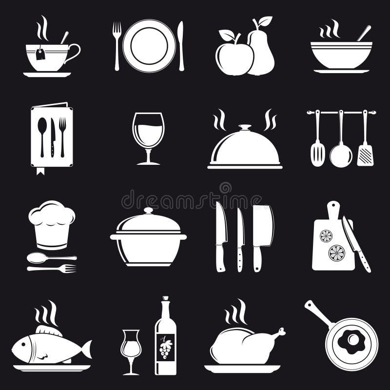 Cocinando los iconos fijados stock de ilustración