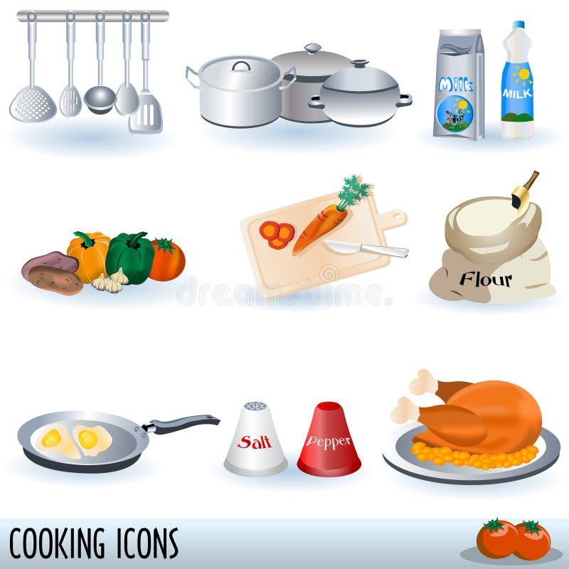 Cocinando los iconos fijados ilustración del vector
