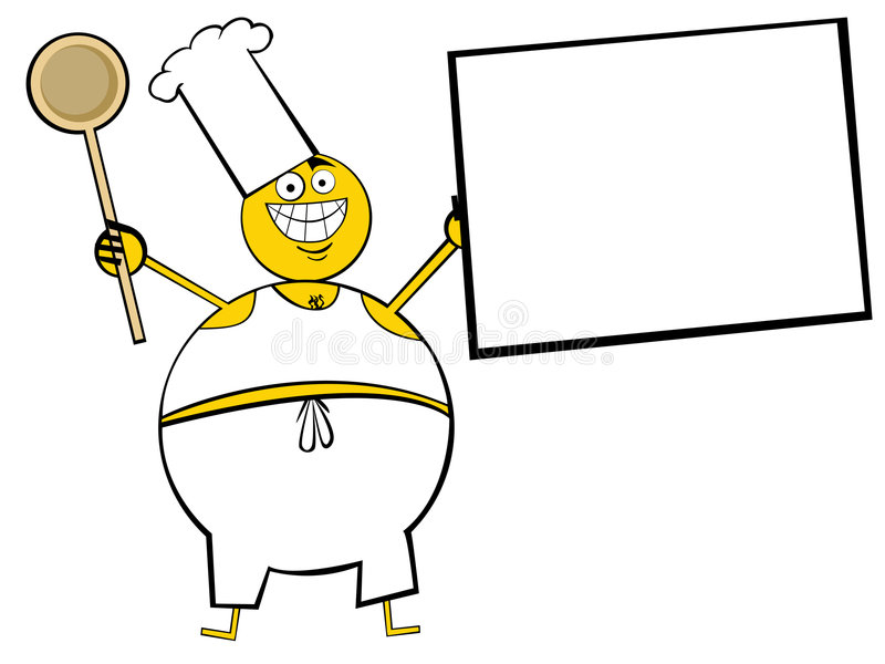 Cocinar al individuo con el menú ilustración del vector