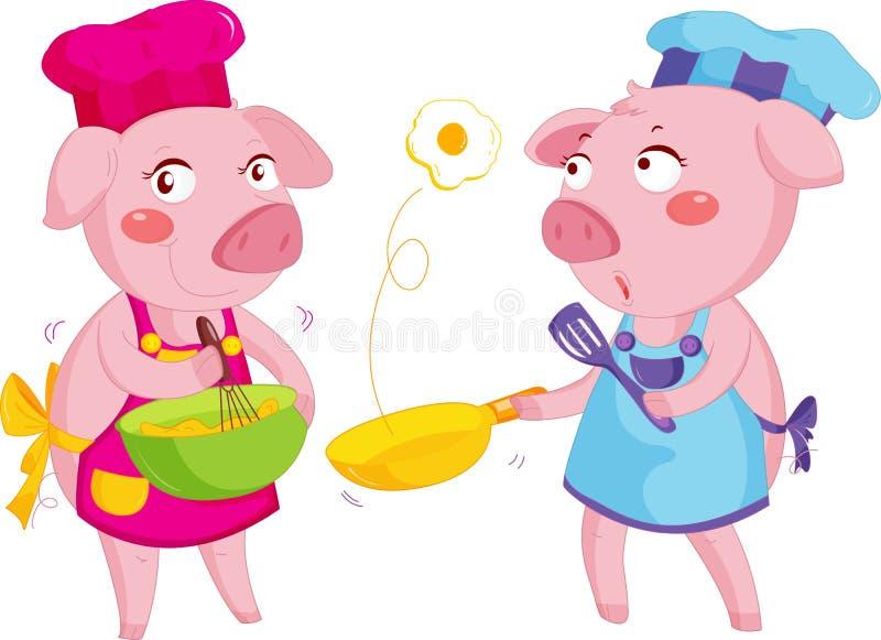 Cocinar cerdos ilustración del vector