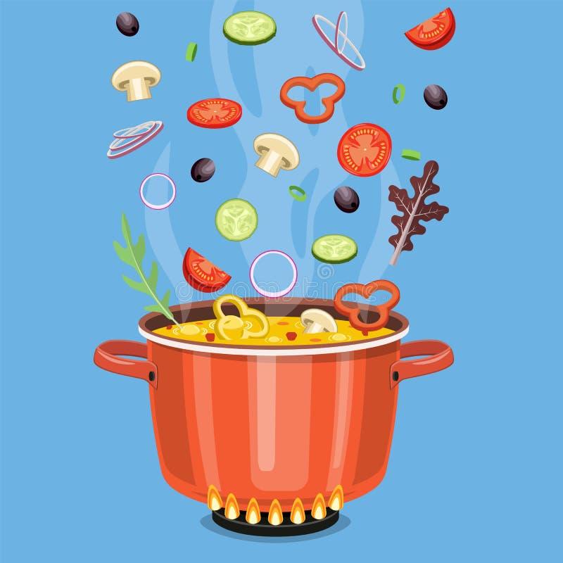 Cocinar concepto En la estufa, hierva la sopa stock de ilustración