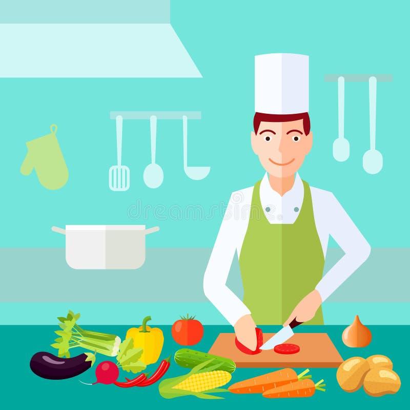 Cocinar concepto plano del color ilustración del vector
