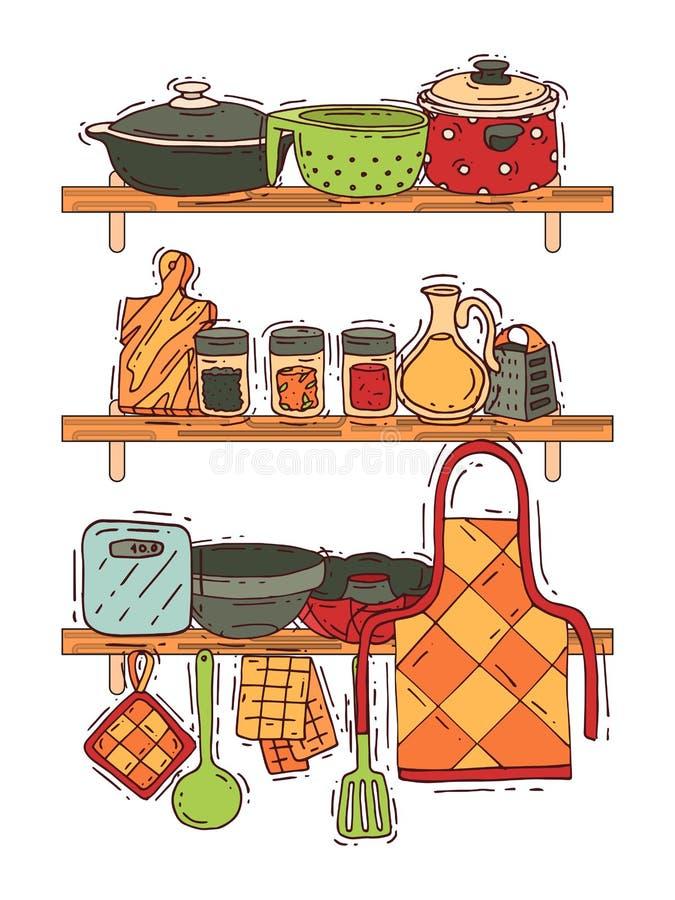 Cocinar el artículos de cocina o el cookware del vector del equipo del estante para la comida con el ejemplo de los cubiertos y d libre illustration