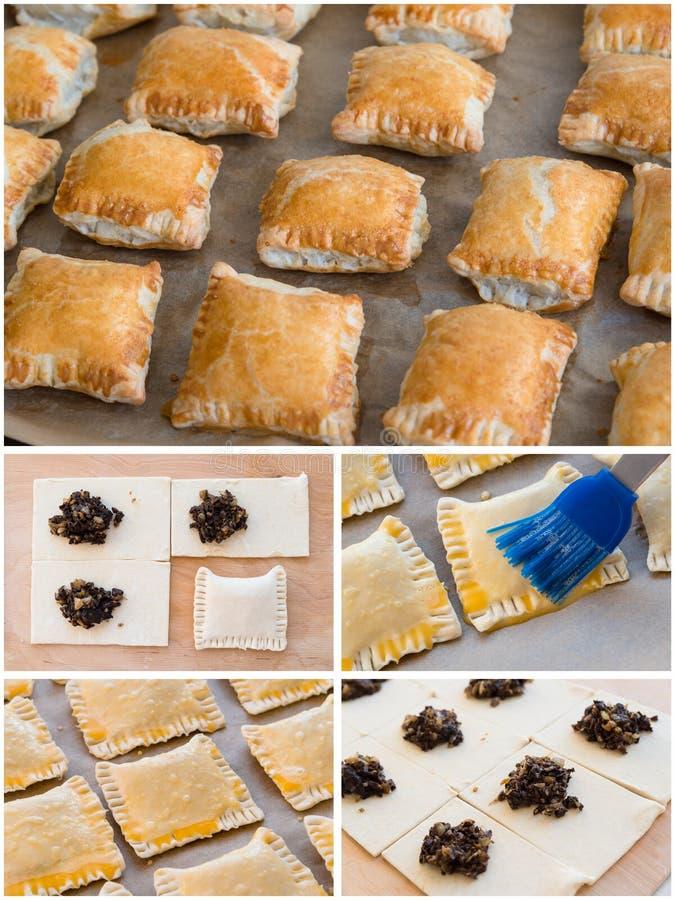 Cocinar el collage, tortas hechas a mano que cuecen imagen de archivo libre de regalías