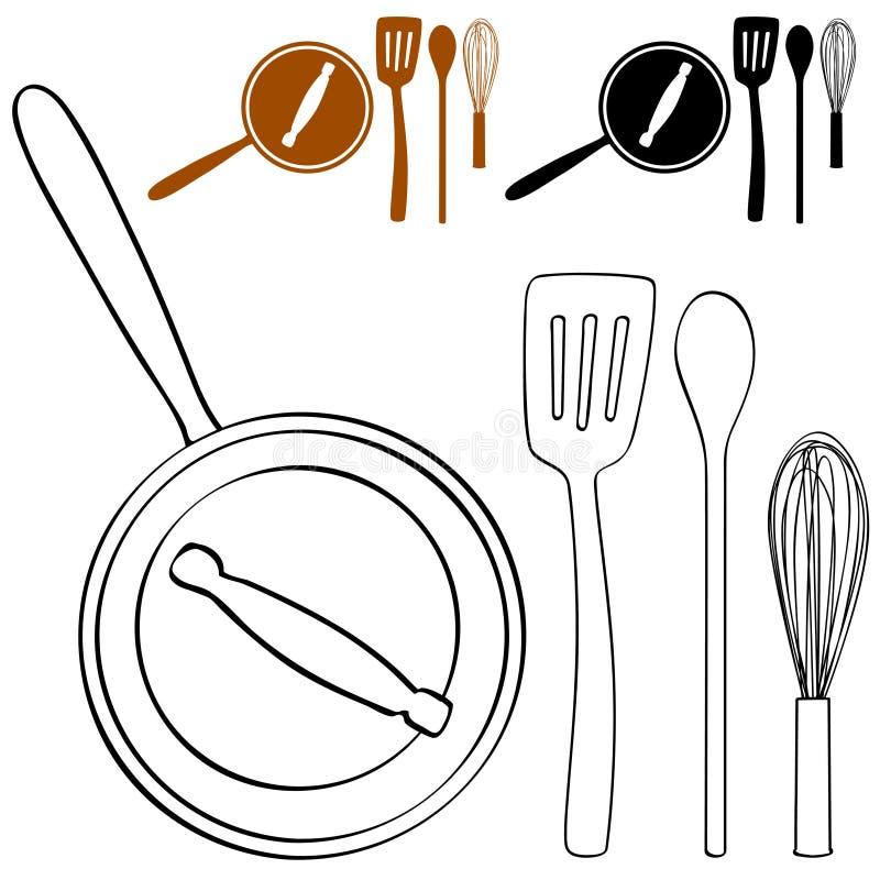 Cocinar el conjunto del crisol libre illustration