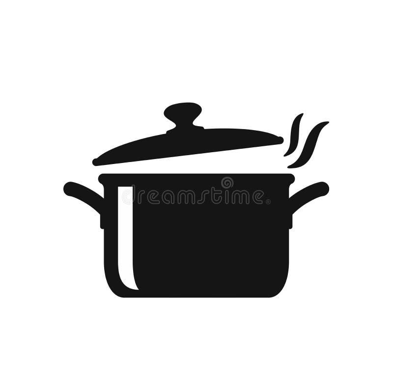 Cocinar el icono de la cacerola stock de ilustración