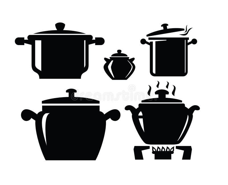 Cocinar el icono de la cacerola libre illustration