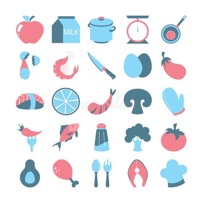 Cocinar el sistema del icono Colección de utensilio de la cocina stock de ilustración